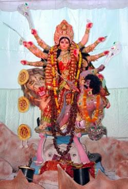 Goddess Durga at Shastri Nagar puja pandal in Varanasi