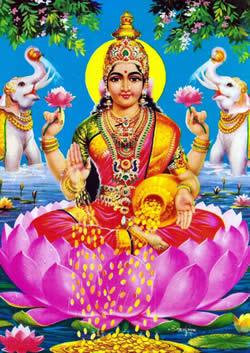 Traditional Hindu image of Lakshmi