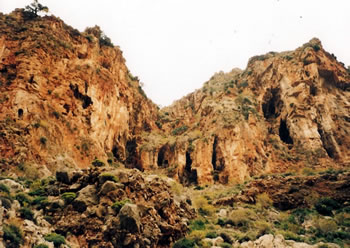 Rock shelters at the Gorge of the Dead at Zakros