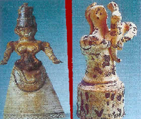 Two Goddess figurines from Knossos. On the left is the second of the two Snake Goddesses (the other is illustrated on the front page). On the right is an  akourotrophos (nursing) Goddess holding an infant.