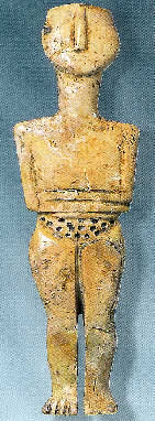 Cycladic style ivory Goddess figurine from Phournia cemetery