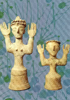 """Goddess figurines from Gournia on Crete (Heraklion Museum)"