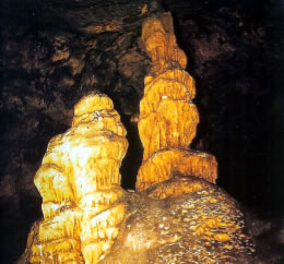 The cave of Eileithyia at Amnisos with the sacred Mother and Daughter stalagmites