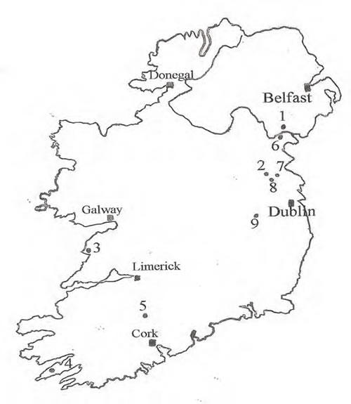 Cailleach sites in Ireland