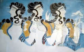 """The Blue Ladies"", from Knossos on Crete, showing Minoan female dress"