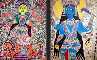 Madhubani Goddesses -Durga on left, Kali on right