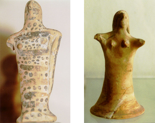 Ancient Goddess figurines found in the Iraion on Samos