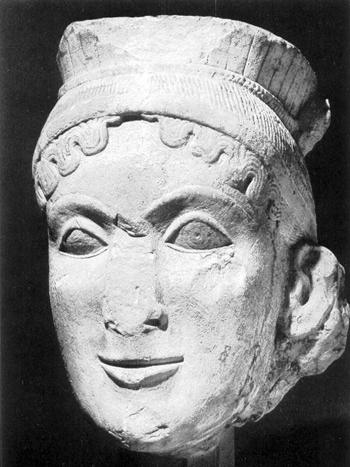 Limestone head of Hera from the temple of Hera at Olympia