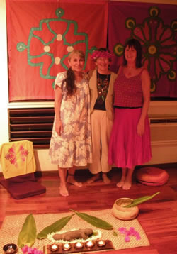 Apela, Lydia and Kathy in the Shrine Room at Pakala