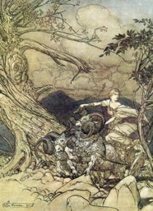 Frigg driving her chariot