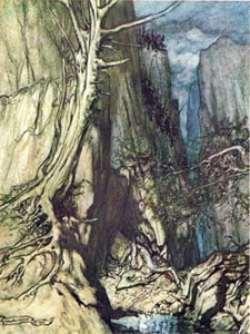 Fafnir guards the gold hoard in this illustration by Arthur Rackham
