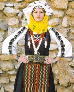 'Sun-headed' women's costume from Evros, Greek Thrace